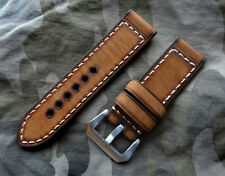 Awesome 24mm Brown Vintage Ammo Military 4.5mm Thick Leather Strap 4 PAM Diesel