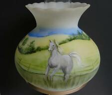 GORGEOUS FENTON ART GLASS HAND PAINTED HORSE TABLE LAMP by STACY WILLIAMS ENOCH