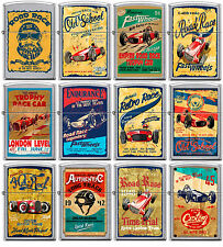 Zippo Old School 1940's Race Club 12 Lighter Set Vintage Poster Street Chrome