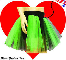 Plus Size Neon Green Black Tutu Skirt adult fairy Costume Halloween Christmas
