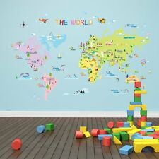Carte du monde wall stickers children educational chambre salle de jeux fun apprentissage