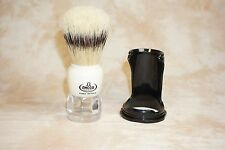 Omega Deluxe Banded Boar Shaving Brush Ivory/Clear Acrylic 81054