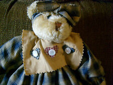 "Primitive Bear w/ checked dress, Cabin Rustic, cottage decor 14"" tall"