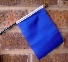 "PLAIN BLUE SMALL HAND WAVING FLAG 6"" X 4"" WITH POLE"