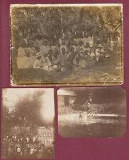 3 Photos anciennes MARTINIQUE défilé marsouins Balata