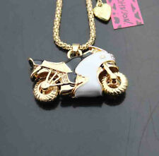 B568W   Betsey Johnson Crystal Enamel Motorcycle Pendant Sweater Chain Necklace