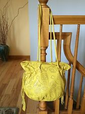 BRACCIALINI Yellow Leather Shoulder Bag Tote Made in Italy for Neiman Marcus
