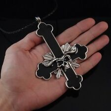 Huge & Heavy Inverted Black Cross Devil Demon Skull Pewter Biker Pendant