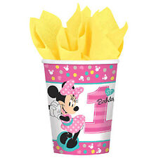 8 Disney Minnie Mouse Fun To Be One 1st Birthday Disposable 9oz Paper Cups