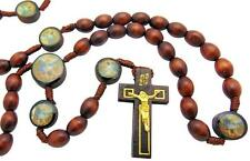 """St Saint Michael Wood Bead with Cord Rosary Gift for Boys Communion 17"""" Long"""