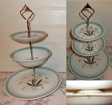 3 TIER PASTRY CAKE PLATE STAND DISPLAY ALFRED MEAKIN HEDGEROW
