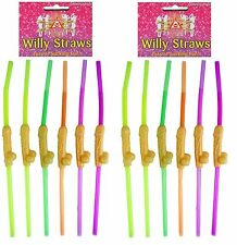 12 X NEON WILLY RUDE DRINKING STRAWS HEN PARTY FUN NIGHT DO ACCESSORIES C51 203