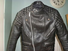 Vintage leather biker jacket-size 38-SMALL-NICELY SCUFFED-SUZUKI ZIPS-CAFE RACER