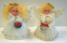 2 homemade plastic canvas white angels with wreaths  Christmas ornaments