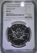 NGC MS67 1994 Canadian Silver Maple Leaf .9999 1 oz Brilliant Mint State Bright