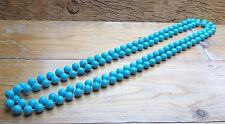 Kitsch Blue Bobble Bead Necklace/Long Plastic Retro Look/70's/80's/Dolly/X Long