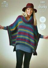 KNITTING PATTERN Ladies Easy Knit Square Poncho with Roll Collar Chunky 3482