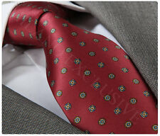 NEW ITALIAN DESIGNER DARK RED SILK TIE with PATTERN