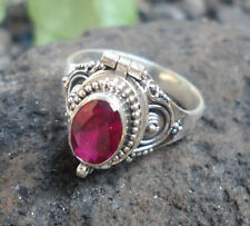 ATR04-925 Sterling Silver Balinese Poison/Locket Ring With Ruby Size 6