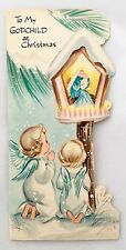 Vintage Die Cut Christmas Card Angel Children Nativity Mary Jesus Pink Candles