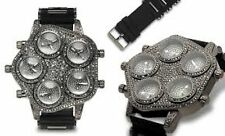 NEW Geneva Platinum 2940 Mens Giant Revolver Black Gunmetal Sillicone Watch 60mm
