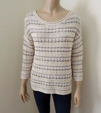 NWT Lucky Brand Womens Sweater Metallic Pullover Size Small Open Knit Top Beige