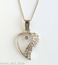 Rhodium silver chain heart diamond pendant indian fashion jewelry necklace