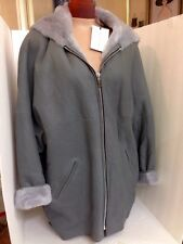 Barbara Bui Jacket Gray Shearling With Hood NWT size T-1