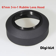 67mm3-in-1 Collapsible Rubber lens hood 4 Canon Nikon Sony Olympus Pentax Contax