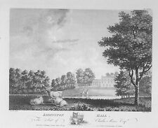 OLD ANTIQUE PRINT LODINGTON HALL LEICESTERSHIRE c1791 ENGRAVING THROSBY / WALKER