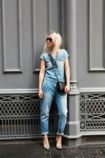 NEW Zara Blue Short Sleeve Faded Blue Denim Jumpsuit Overall ROMPER S -SOLD OUT
