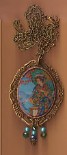 Asian Geisha Girl 30x40mm Resin Cameo Pendant Necklace W/ Crystal Beads OOAK #7C