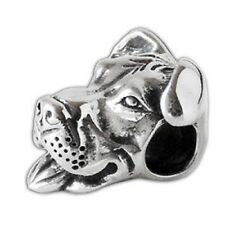 Smiling Pit Bull Charm - Sterling Silver - For European Style Charm Bracelets