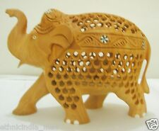 Hand Carved Intricate Wood Elephant Figurine Trunk Up Lucky Figure Statue Decor