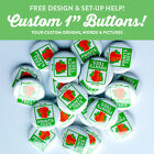 "100 Custom 1"" inch buttons badge pin back punk bands indie FREE set up round"