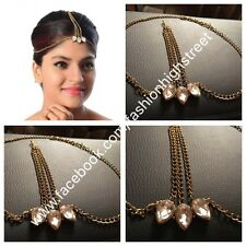 INDIAN Pakistani Gold Chain & Stone MangTikka, Jhumar, head jewellery