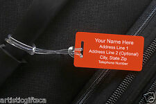 2 Personalized Engraved Plastic Luggage/Sport/I.D. Tags. Engraved & Shipped Free