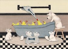 West Highland Terriers (westies), ducks share tub at bath time / Lynch art print