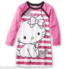 CHARMMYKITTY L/S Nightgown Girl's 6/6x NeW Charmmy Kitty Pajamas Pjs Hello NWT