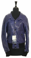Authentic MCQ BY ALEXANDER MCQUEEN Blue Leather Jacket, Size 48 12 14