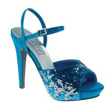 Turquoise Teal Sequined Satin Prom Holiday Party Bridal Wedding High Heel Shoe