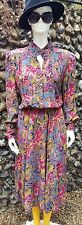Vintage 1980's long sleeved Floral day dress. UK Size 14/16.