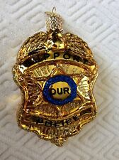 """New """"SUPPORT OUR POLICE"""" Blown Glass Police Badge Ornament OWC"""