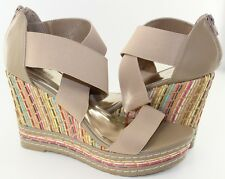 Charles David Letti Camel Womens Strappy Platform Wedge Sandals Shoe Size 10 NEW