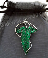 Elven Leaf Brooch Pin Green Hobbit LOTR Lord of The Rings Lorien Cape Enamel