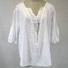 NEW NWT XCVI Plus Size Lace Trim Open Sleeves White 100% Cotton Tunic Blouse 3X