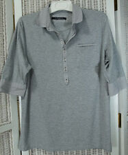GUIDE LONDON Grey Polo Shirt with Pinstripe Contrast Collar and Cuffs L Knitwear