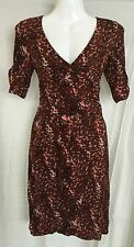 BNWT Dark Brown Leopard Print DOROTHY PERKINS Wrap Dress Size 6 (Tag Shows £32)