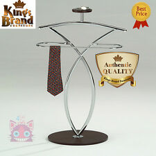Home Walnut Standing Valet Clothes Hanger Organizer Bedroom Men Suit Rack Stand