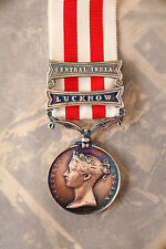 BRITISH ARMY ROYAL NAVY INDIAN MUTINY MEDAL LUCKNOW CENTRAL INDIA CLASPS SEPOY